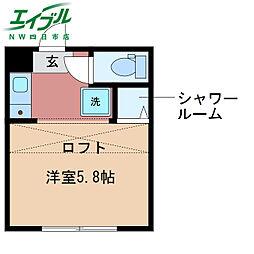 REALBLOSSMII芝田 2階ワンルームの間取り
