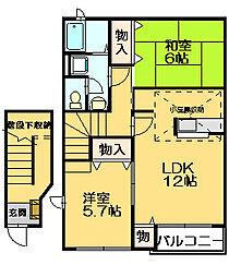 福岡県糟屋郡志免町志免中央2丁目の賃貸アパートの間取り