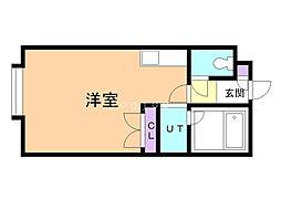 コットンハウス8 2階ワンルームの間取り