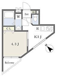 ハイホーム 5階1Kの間取り