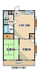 東京都府中市多磨町2丁目の賃貸マンションの間取り