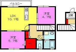 クレールコート A棟[2階]の間取り