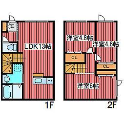 [テラスハウス] 北海道札幌市豊平区月寒西一条9丁目 の賃貸【/】の間取り