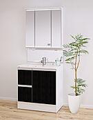 シックな木目調扉が美しい洗面台。ミラー裏は全て収納スペース。トレイの高さをアレンジでき、内部にコンセントがあるので美容家電を充電しながら収納できます