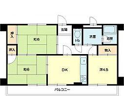 土山ヤングコーポ[1階]の間取り