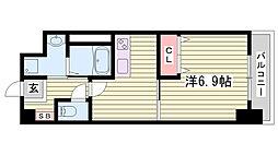 神戸市西神・山手線 伊川谷駅 徒歩7分の賃貸マンション 4階1DKの間取り