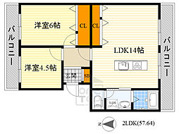 隆豊ハイツ 1階2LDKの間取り