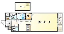 カーサ・エル・タカミヤ 2階ワンルームの間取り