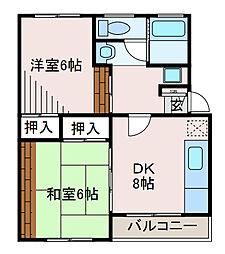 コーポ宇津木第2[1階]の間取り