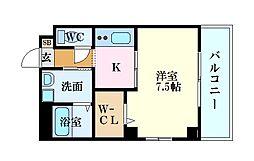 LE DOME東蟹屋 5階1Kの間取り