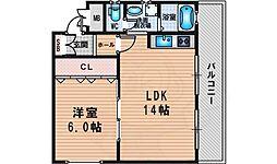 新大阪和光マンション 4階1LDKの間取り