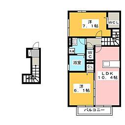 岡山県岡山市北区青江4丁目の賃貸アパートの間取り
