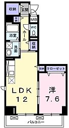グランユニゾン 川俣3 高井田11分[1階]の間取り
