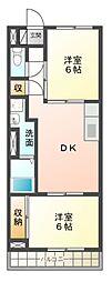 シャトー桐野[2階]の間取り