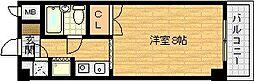 ハイツオークラ天神橋[6階]の間取り