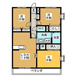 ベルエアコート[6階]の間取り