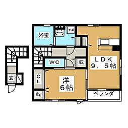 ノーブル鶴ヶ谷[2階]の間取り