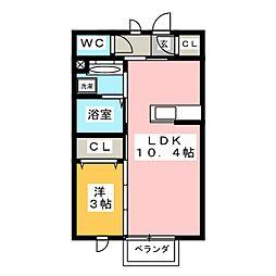愛知県豊橋市下地町字門の賃貸アパートの間取り