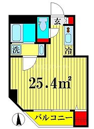 都営大江戸線 両国駅 徒歩3分の賃貸マンション 2階ワンルームの間取り
