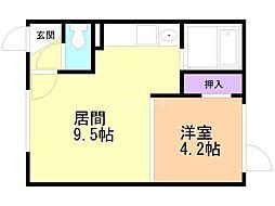 Mimosa桜町A 1階1DKの間取り