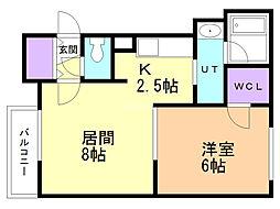 DIECI MOTOMACHI(北側) 2階1LDKの間取り