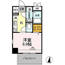 第三上村ビル 4階1Kの間取り