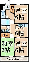 東京都日野市万願寺3丁目の賃貸マンションの間取り