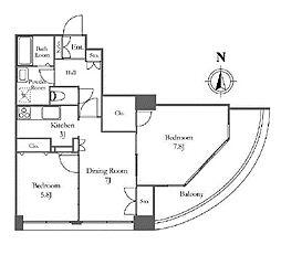 リバーシティ21イーストタワーズII 15階2DKの間取り