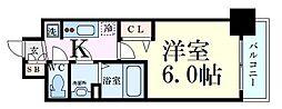 Osaka Metro御堂筋線 西中島南方駅 徒歩4分の賃貸マンション 4階1Kの間取り