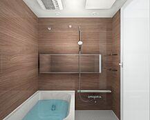 やわらかな印象を感じさせる木目が美しい鏡面仕上げの壁面パネル。温かみのある雰囲気は安らぎと癒しの空間です。心地良さにこだわった浴槽形状でリラックスできます