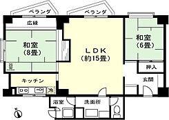 和室8畳 和室6畳 LDK約15畳