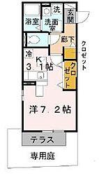北大阪急行電鉄 江坂駅 徒歩5分の賃貸アパート 1階1Kの間取り