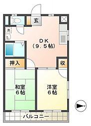 シャトー津田[2階]の間取り