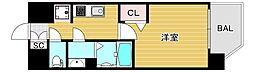 プレミアムコート阿波座ウエスト 9階1Kの間取り