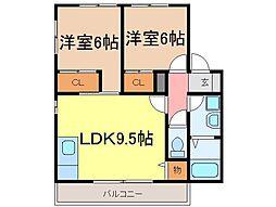 静岡県富士市大淵の賃貸アパートの間取り