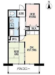 URシャレール東豊中 11階2DKの間取り
