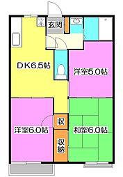 東京都東久留米市小山3丁目の賃貸アパートの間取り