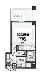 Osaka Metro谷町線 谷町四丁目駅 徒歩5分の賃貸マンション 10階ワンルームの間取り