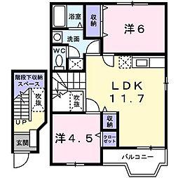 東京都立川市砂川町8丁目の賃貸アパートの間取り