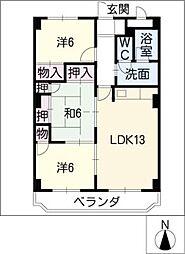 イーストヒルズ384[4階]の間取り