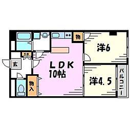 兵庫県西宮市松並町の賃貸マンションの間取り