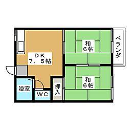 ハイツ大島 B棟[2階]の間取り