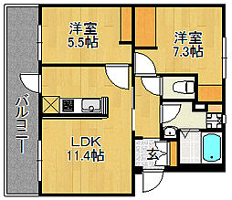 浅川団地200棟[3階]の間取り
