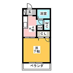 キュービックハイツ[1階]の間取り