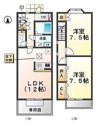 愛知県清須市春日高畑の賃貸アパートの間取り