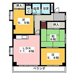 ハイツASADA[3階]の間取り