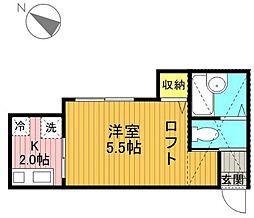 神奈川県横浜市金沢区富岡東3丁目の賃貸アパートの間取り