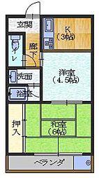 パルデンス長岡京[2階]の間取り