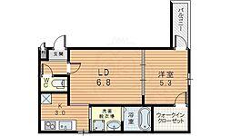 Osaka Metro御堂筋線 東三国駅 徒歩7分の賃貸アパート 2階1LDKの間取り