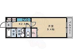 JR片町線(学研都市線) 藤阪駅 徒歩11分の賃貸マンション 2階1Kの間取り
